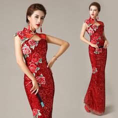 Material: Red sequins fabric Features: Sleeveless; no slit; invisible zipper closure; floor length mermaid dress; embroidered red peony floral and keyhole front details.  Custom made available....