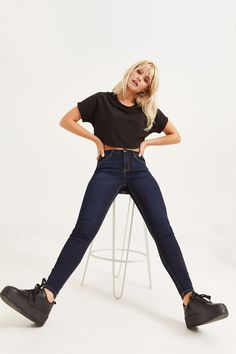 Exclusive piece from our EightyTwo Denim collection. Model is wearing size Ardene Free Clothes, Jeggings, Mom Jeans, Spandex, Denim, Chic, Relationship Quotes, Pretty, Model