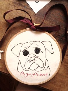 a special pugnificient gift to a pug lovin friend. drawn and stitched by me. I liked how the pug's eyes come out when no other color is added.  #diy #pugsnotdrugs #pugs