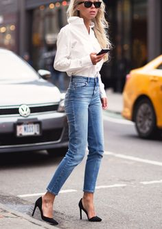 white shirts blue jeans black heels. Street women fashion outfit clothing style apparel @roressclothes closet ideas
