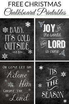 20 Free Chalkboard Christmas Printables