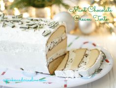 This dessert may look complicated but it's an easy Christmas Dessert. Start with a frozen pre-made pound cake and add some whipped cream and mint candies.