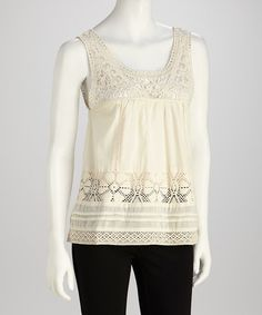 Take a look at this Ivory Crocheted Sleeveless Top by Blush by Young Threads on #zulily today!