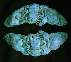 Large Pr Antique Chinese Kingfisher Feather Ornaments.  $650 for the pair