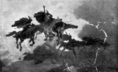 """The Ride of the Valkyries Drawing by John Charles Dollman. 1909  In Norse mythology, a valkyrie (from Old Norse valkyrja """"chooser of the slain"""") is one of a host of female figures who decide which soldiers die in battle and which live. Selecting among half of those who die in battle (the other half go to the goddess Freyja's afterlife field Fólkvangr), the valkyries bring their chosen to the afterlife hall of the slain, Valhalla, ruled over by the god Odin."""