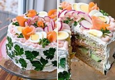 """Smorgastarta Sandwich Cakes -- Just discovered them! Scandinavian cuisine dish that is popular in Sweden, Estonia (as """"võileivatort"""") and Finland (as """"voileipäkakku"""") Fun lunch or tea time. Just cut the cake into small slices or """"tea sandwiches"""". Sandwich Torte, Sandwich Recipes, How To Make Sandwich, How To Make Cake, Food Cakes, Mini Wraps, Pain Surprise, Cold Sandwiches, Cake Shapes"""