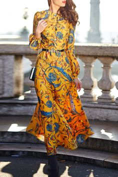 Differentes Golden Floral Pattern Long Sleeve Dress | Maxi Dresses at DEZZAL