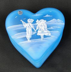 Fenton Sky Blue Heart Box Mary Gregory Style Painting on Glass found on Ruby Lane