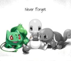 Never Forget: Bulbasaur the seed Pokemon, Charmander the lizard Pokemon, and Squirlte the tiny turtle Pokemon