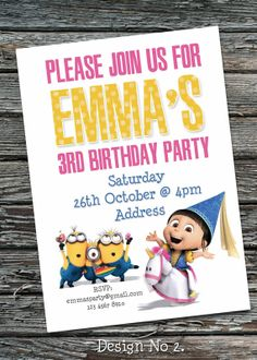 Despicable Me Agnes Birthday Party Invitation Printable Digital File on Etsy, $12.00