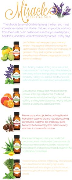 The Miracle Essential Oils line features the best and most aromatic remedies that Mother Nature can provide, working from the inside out in order to ensure that you are the happiest, healthiest, and most vibrant version of yourself-every day! Click here to learn how to incorporate Miracle Essential Oils into your daily life: http://www.miracleessentialoils.com/guide/index.php?affid=370408&c1=PIN&c2=C7-A3&c3=