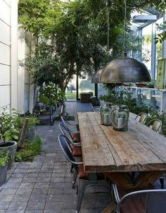 Provide Your House a Transformation with New House Design – Outdoor Patio Decor Outdoor Rooms, Outdoor Dining, Outdoor Gardens, Outdoor Tables, Rustic Outdoor, Rustic Patio, Outdoor Fire, Dining Tables, Rustic Wood