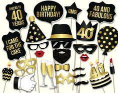 40th birthday photo booth props: printable PDF. Black and gold Forthieth…