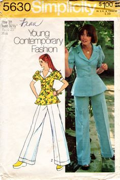1970s Peplum Blouse and Wide Leg Pants - Vintage Pattern Simplicity 5630 - B32 by ErikawithaK on Etsy