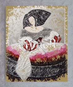 Menina Vintage magenta con marco plata SPA1058 Easy Canvas Painting, Portraits, Magenta, Sculptures, Romantic, Draw, Ceramics, Artwork, Anime