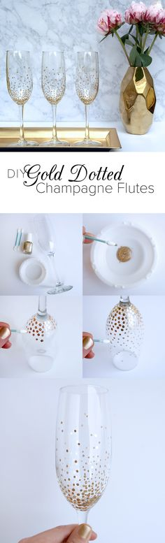 Diy Gold Dot Champagne Flutes