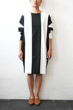 Black / White Wide Striped Dress by weltenbuerger on Etsy, $98.00