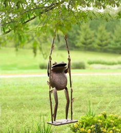 Giant Frog on a Swing Outdoor Decoration | Garden Statuary