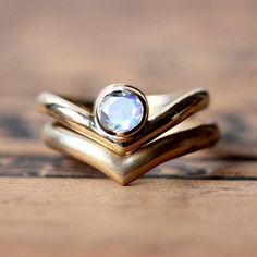 Unique and modern handmade moonstone wedding ring set in recycled 14k yellow gold by metalicious on Etsy $1080.