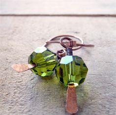 Petite Swarovski Earrings. Handmade in Australia by Bohemianism. #Swarovski #copper