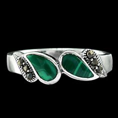 DELIGHTFUL 3.5X7 MM GREEN ENAMEL PEAR SHAPE,MARCASITE SOLID 925 SILVER RING 9 US #Handmade #Cameo #Birthday