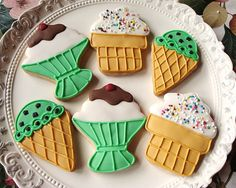Ice Cream Party Cookies 1 dozen by TheFancyLadyGourmet on Etsy, $30.00