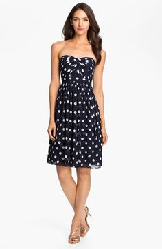 $177, Jenny Yoo Strapless Polka Dot Convertible Chiffon Dress. Sold by Nordstrom. Click for more info: https://lookastic.com/women/shop_items/193378/redirect