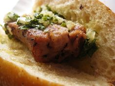 Choripán: Chorizo sandwich with chimichurri - the best ones are supposedly along the Costanera near the Ecological Reserve in Buenos Aires, Argentina