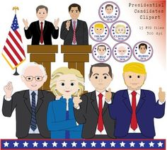 Debate season is in full swing! Time to get to know each candidate and pick our leader. This pack of clipart is everything you need to create your own scenes or individual posters for each candidate. This pack contains 15 images in PNG format, 300 dpi.   Republican candidates - Donald Trump - Ted Cruz - Rubio - Kasich - Trump Button - Cruz Button - Rubio Button - Kasich Button  Democratic Candidates - Hillary Clinton - Bernie Sanders - Clinton Button - Sanders Button  Additional images…
