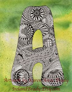 Alphabet Letter A, an ACEO Open Edition authorized art print zentangle doodle initial monogram art print by Karen Anne Brady Doodle Alphabet, Doodle Art Letters, Doodle Art Journals, Doodle Lettering, Creative Lettering, Letter Art, Typography, Doodle Patterns, Zentangle Patterns