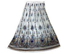 Womens Long Skirt White Dcrapechic Floral Sequin Beaded Bellydance Boho Skirt Mogul Interior, http://www.amazon.com/gp/product/B008H0G2Z2/ref=cm_sw_r_pi_alp_eJToqb1478KXK