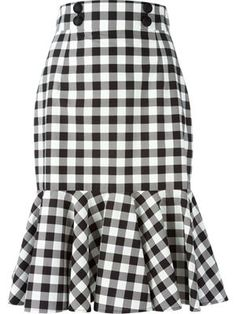check ruffle skirt