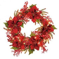 prelit christmas wreaths and garland