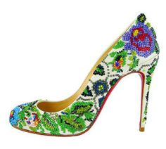 Christian Louboutin Sissi Beaded Floral Pumps Spring 2013