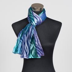 'Mermaid's Tail', gorgeous silk scarf hand painted by Marlyse Carroll