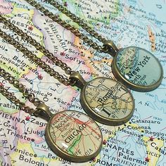 CUSTOM Map Necklace You Select Location Anywhere by BrassAndChain, $21.00