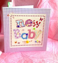 New Baby Card, Printed Applique Design, Hand Finished New Baby Card £1.95