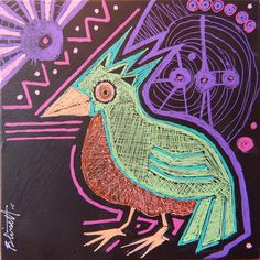 """Pajaro De El Universo. six inch by six inch """"tile""""     this Parajo is now SOLD."""