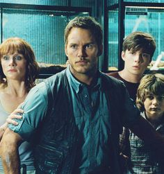 Chris Pratt, Bryce Dallas Howard, Ty Simpkins, and Nick Robinson in a new JURASSIC WORLD still