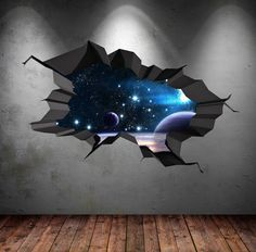 Bedroom wall paint - space wall decal cracked hole space galaxy stars full colour wall art sticker boy bedroom decal mural x Girls Bedroom Mural, Boy Girl Bedroom, Bedroom Murals, Bedroom Wall, Art Mural 3d, 3d Wall Art, Wall Murals, 3d Wall Painting, Wall Stickers Stars