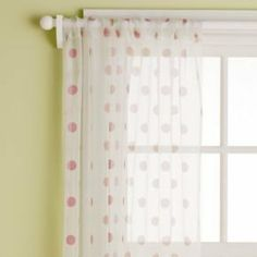 """Curtains: 84"""" Cranberry Dots Panel(Sold Individually) by Land of Nod. $45.00. Green. 100% Silk Organza - Unlined. Kids polka dot sheer curtain is made of luxurious silk organza in a sheer dotted pattern. Available in Blue, Green, Lavender, Pink or Yellow."""