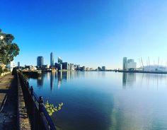 Beautiful mornings  #hood #canarywharf #o2 #bluesky #glasswater #morning #london #riverthames by inastoyanova