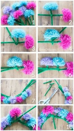 How to make tassel flower crowns - Make an easy DIY tassel flowers crown with yarn and pipe cleaners to delight someone you love. Perfect for weddings, parties, birthdays and more.Michaels Arts And Crafts Coupon Easy Yarn Crafts, Pom Pom Crafts, Flower Crafts, Crafts To Sell, Sell Diy, Yarn Crafts For Kids, Pipe Cleaner Flowers, Pipe Cleaner Crafts, Pipe Cleaners