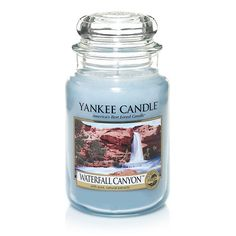Waterfall Canyon - The scent of cascading water fills the air with a cool, purifying freshness. Yankee Candle Scents, Yankee Candles, Scented Candles, Candle Labels, Candle Jars, Water Candle, My Yankees, Blue Candles, Home Scents