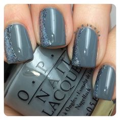 Side French mani using OPI Embrace the Gray and OPI Shine for Me from the Fifty Shades of Grey Collection. I used French tip vinyls by @teismom