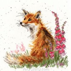 Amongst the Foxgloves - fox Counted Cross Stitch Kit by Hannah Dale of Wrendale Designs