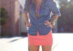 Denim Shirt and Orange Skirt