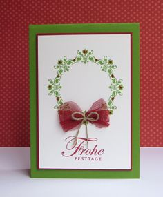 handmade Christmas card ...  Daydream Medallion stamped wreath with red glitter glue dots  ... tulle and twine bow  ... sentiment ... formal design ... simply beautiful ... Stampin' Up!