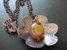 Flower NecklaceHammered copper jewelry  Copper flower by EBsJewels, $45.00