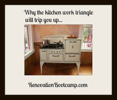 When laying out a new kitchen plan, many people ask me about the work triangle. See why it's a no-no. RenovationBootcamp.com